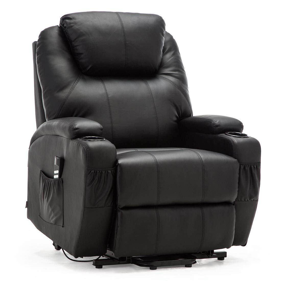 Black More4Homes CINEMO DUAL MOTOR ELECTRIC RISER RECLINER ARMCHAIR MOBILITY BONDED LEATHER MASSAGE HEATED CHAIR