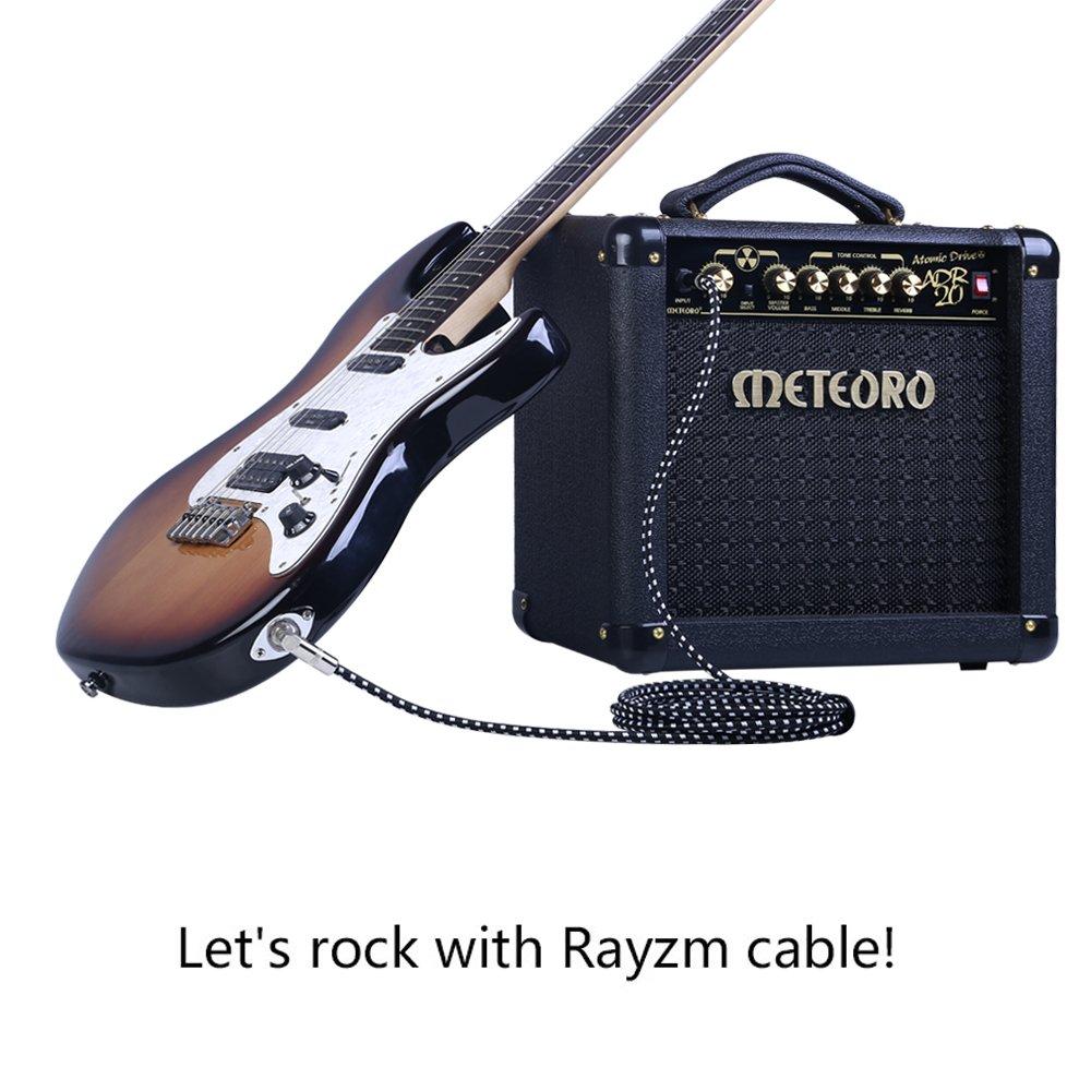 Rayzm Cable de la Guitarra - 5m Silencioso Guitarra / Bajo y Acordes, 1/4