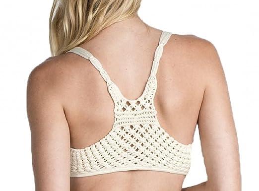 007a7203bf Miss Me Women s Cream Soft Crochet Lace Racer Back Bandeau Bralette ...