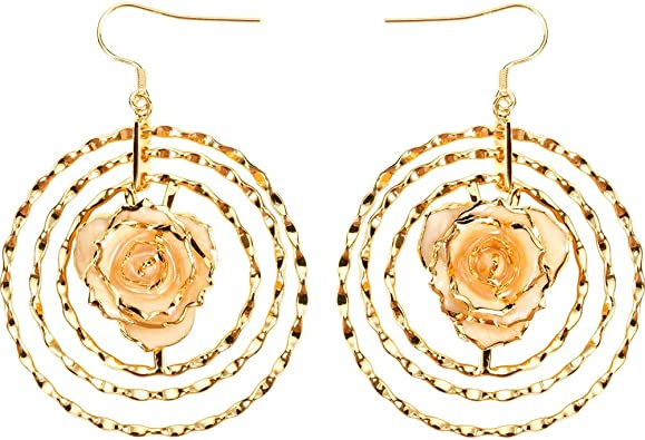 Amazon Com Defaith 24k Gold Dipped Rose Earrings Made Of Fresh Rose Last Forever Best Anniversary Gift For Her Ivory Jewelry
