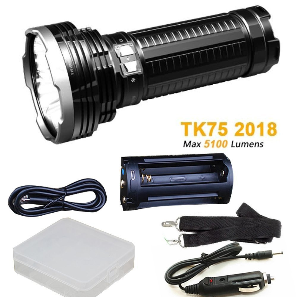 Fenix TK75 5100 Lumen 2018 Edition 4 CREE LED Flashlight/Searchlight with 1 x 18650 battery cases, ARW-10 Car charger