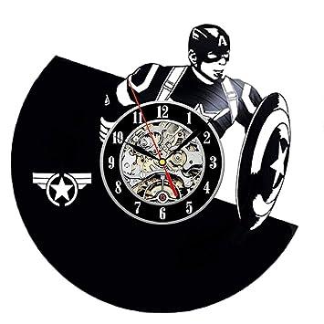 Actim Reloj de Pared de Capitán América Relojes Retro de Vinilo: Amazon.es: Deportes y aire libre
