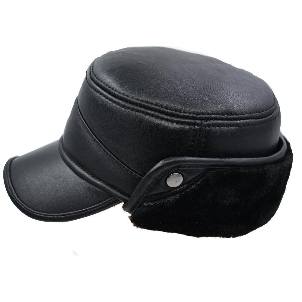 024ef586ebf Ifsun men winter lambskin baseball earflaps fleece earmuffs cap leather hat  at amazon men clothing store