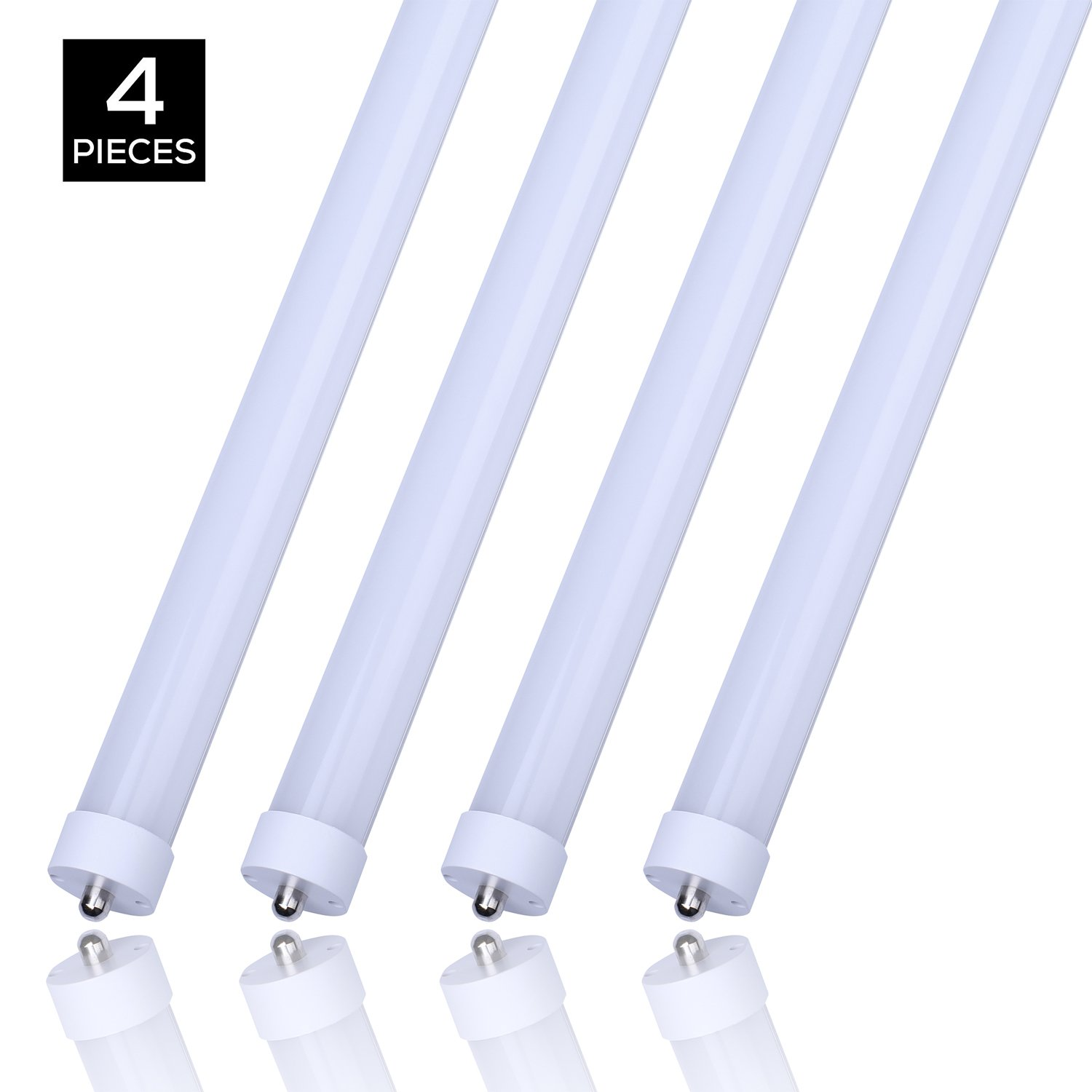 8ft Led Light Bulbs 45W, Replacement 100W Fluorescent Lamp Shop Lights, 8FT Single Pin FA8 Base Dual-Ended Power Cold White 6000K 4500LM, Frosted Cover, AC 85-265V 4 Pack