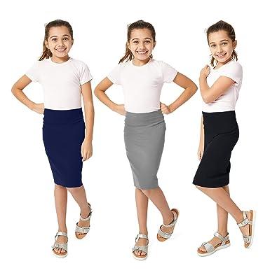 6362084095 Amazon.com: KIDPIK Pencil Skirts 3PACK for Girls - Multi-Color, Soft ...