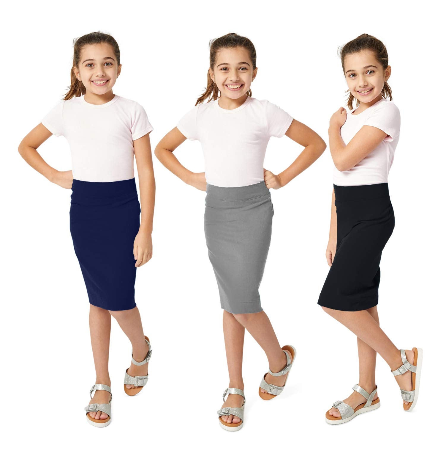 KIDPIK Girls Pencil Skirts (3 Pack) - Multi-Color - (Small (7/8), Grey/Navy/Black)