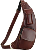 Everdoss Sling Bags Casual Daypack Chest Shoulder for Men Top Genuine Leather Hiking Bag Brown