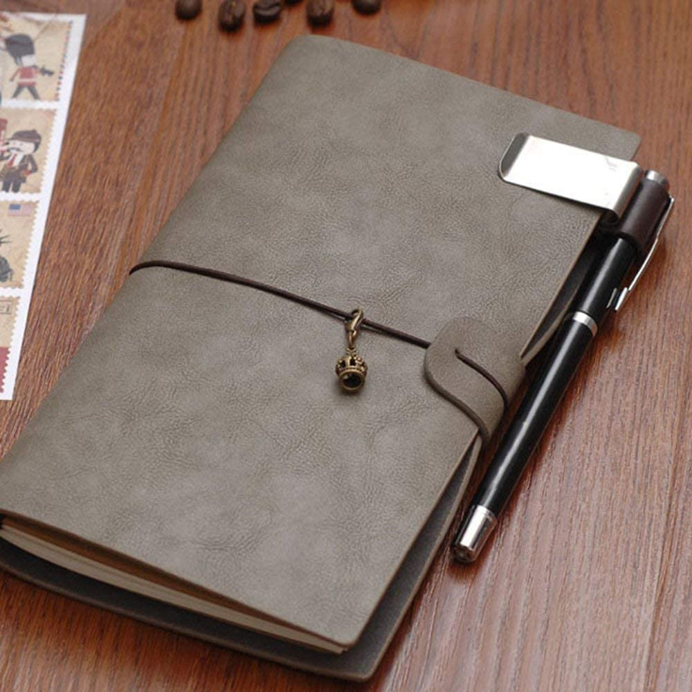 RETYLY Portapenne in Pelle Per Notebook Pen Loop Traveler Con Clip in Acciaio Inox da 4 Pezzi