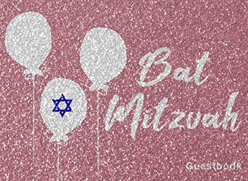 Bat Mitzvah: Guest Book For Jewish's Girl Coming Of Age Celebration With Message Prompts And Lined Paper Pink Design -