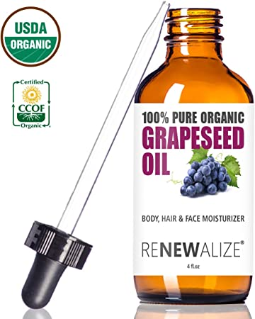 USDA Certified Organic GRAPESEED Oil Anti-Aging Moisturizer – Facial Cleanser in 4 oz Glass Bottle Unrefined, Cold Pressed Grape Seed Oil Essential to Reduce Skin Wrinkles and Stretch Marks
