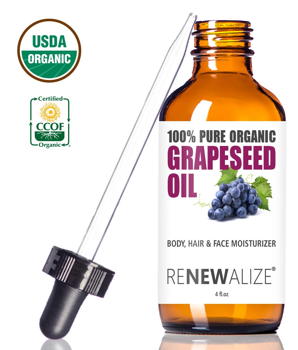 USDA Certified Organic GRAPESEED Oil Anti-Aging Moisturizer - Facial Cleanser in 4 oz Glass Bottle   Unrefined, Cold Pressed Grape Seed Oil   Essential to Reduce Skin Wrinkles and Stretch Marks