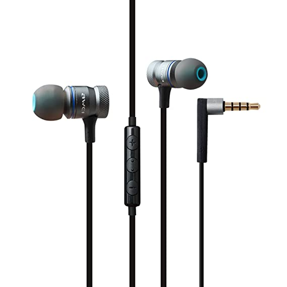 962257a34c9 AWEI In Ear Earbuds Noise Cancelling Headphones Gold Plated Plug Wired  Earphones With Microphone Volume Control