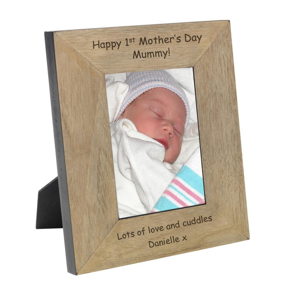 Happy 1st Mother's Day Mummy! ENGRAVED Oak Wood Veneer Picture Frame 7x5 SDD