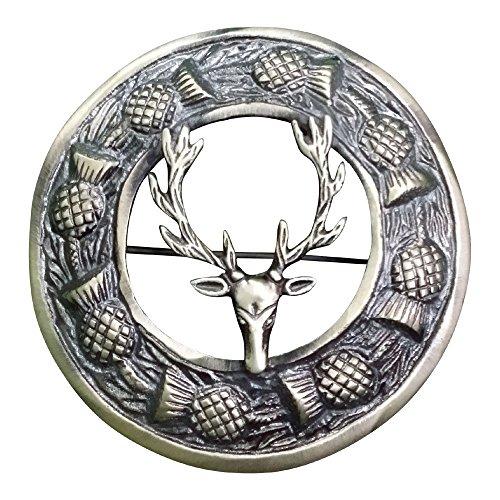 (AAR Men,s Scottish Stag Head Kilt Brooch Fly Plaid Antique Finish 3
