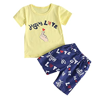 3050ab46475 Amazon.com  Dsood Toddler Boys Cotton Clothing Sets Short Sleeve Tee ...