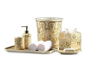cream gold scrolls pattern bathroom set