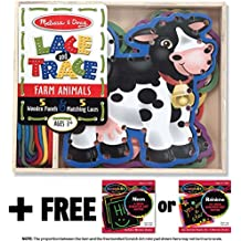 Farm Animals: Lace and Trace Box Set + FREE Melissa & Doug Scratch Art Mini-Pad Bundle [37815]