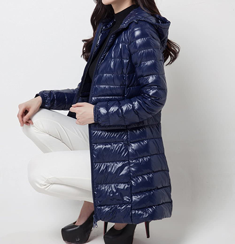 Caracilia Womens Plus Size Lightweight Packable Hooded Long Down Outwear Jacket