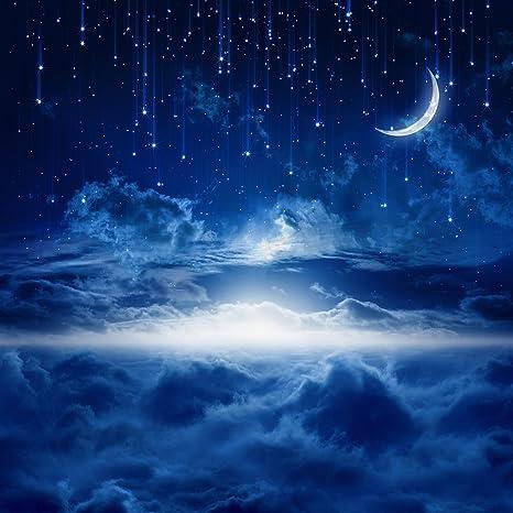 15 X 21 M Scuro Blu Notte Brillante Mezzaluna Foto Fondali In
