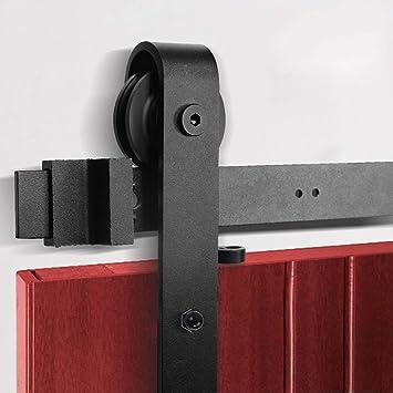 8,2 pies / 2,5 M de deslizamiento puerta de granero Kit de hardware barra de colgar con amortiguador de puerta corrediza de la pista Kit Armario Conjunto for una sola puerta: Amazon.es: