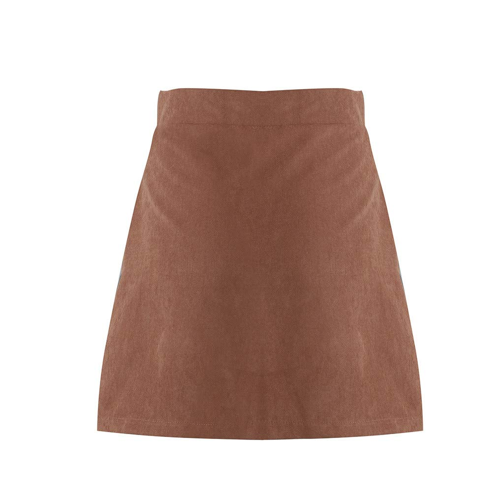 Fashion Skirt in Londony ♥‿♥ Women's Faux Suede Button Color Block Closure A-Line Tight Mini Short Skirt by Londony❤ღ♕ (Image #5)