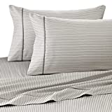 400 Thread Count Luxurious 100% Egyptian Cotton Set of 4 Short Queen 60x75 (1 Fitted sheet,1 Flat Sheet, 2 Pillows covers) for Camper/RV by Rajlinen (Stripe Printed Grey)
