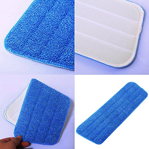 Microfiber Mop Pads, Yamix Set of 5 Hardwood and Floor Microfiber Spray Mop Pads Cleaning Pad Mop Refill Replacement Heads for Wet/Dry Mops,Spray and Spin Magic Mop - Blue by Yamix (Image #2)