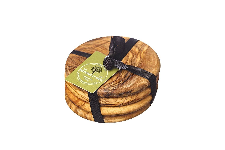 Naturally Med Olive Wood Round Coaster Set x4