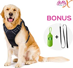 GoMeX Dog Harness No Pull Pet Harness (Bonus) Adjustable Outdoor Black Vest Reflective Soft Material Easy Control for Large Dogs (6 FT Reflective Leash & Waste Bags w/Dispenser and Clip Included)
