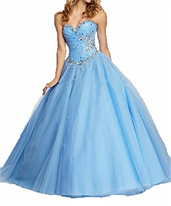 Zhu Li Ya Womens Coral Green Tulle Crystal Quinceanera Dresses Prom Gown (XS, Blue