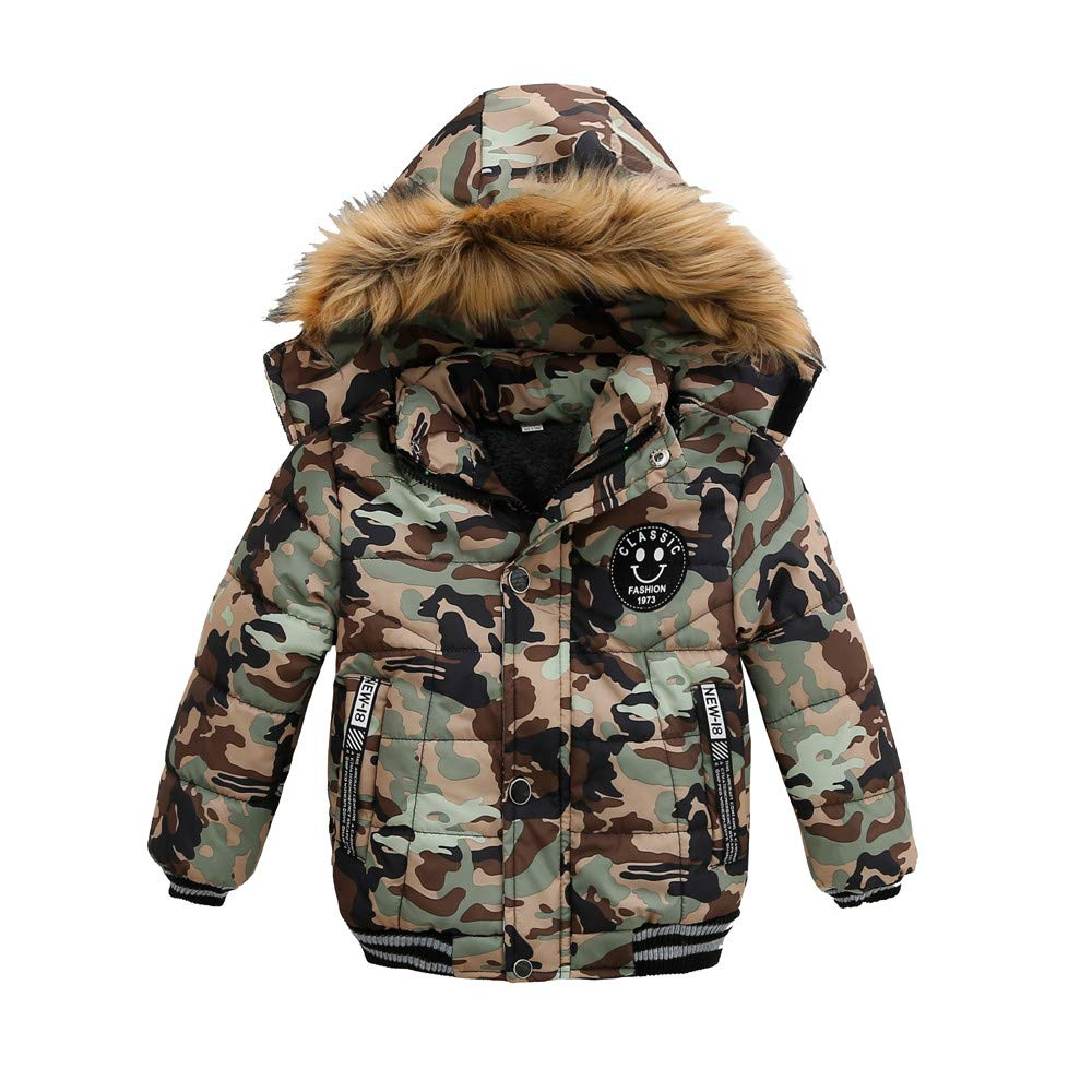 Fineser Stylish Kids Coat Boys Camouflage Thick Warm Faux Fur Hoooded Coat Jacket Outerwear Padded Winter Clothes 1-5T