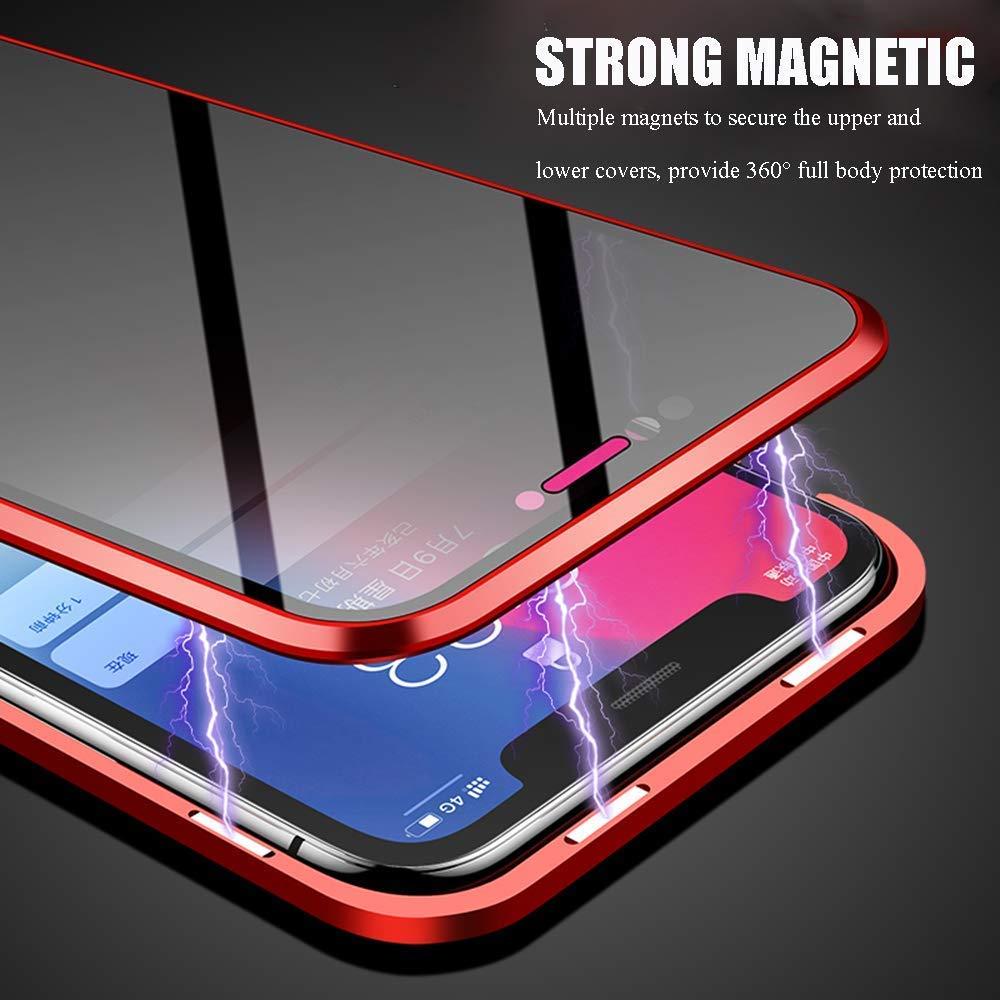 Transparente 360 Vidrio Templado Carcasa Protectora con Marco Met/álico Compatible con iPhone XS MAX//XR//XS//X Funda de Absorci/ón Magn/ética para iPhone XR 8 7 Plus 7 8