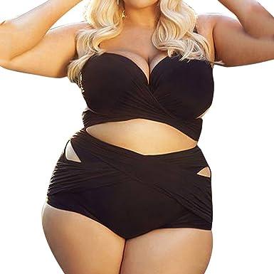 Women/'s Plus Size Swimsuit High Waist Swimwear Bikini Set Bathing Surf Beachwear