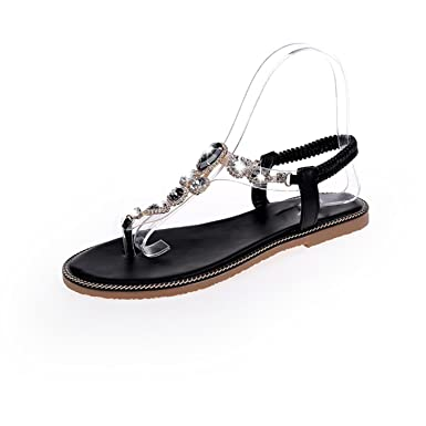 fdd14b48e601 Image Unavailable. Image not available for. Color  Women crystal flat Roman  elastic band Sandals Shoes ...