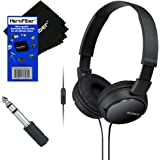 Sony MDRZX110AP ZX Series Extra Bass Smartphone Headset with Mic (Black) + 3.5mm Mini Plug to 1/4 inch Headphone Adapter & HeroFiber Ultra Gentle Cleaning Cloth
