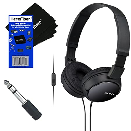 Sony MDRZX110AP ZX Series Extra Bass Smartphone Headset with Mic Black 3.5mm Mini Plug to 1 4 inch Headphone Adapter HeroFiber Ultra Gentle Cleaning Cloth