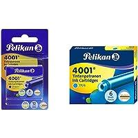 Pelikan 4001 - Recambios de Tinta para Pluma estilográfica (12 Unidades), Color Azul + 301705A - Juego de Cartuchos de…
