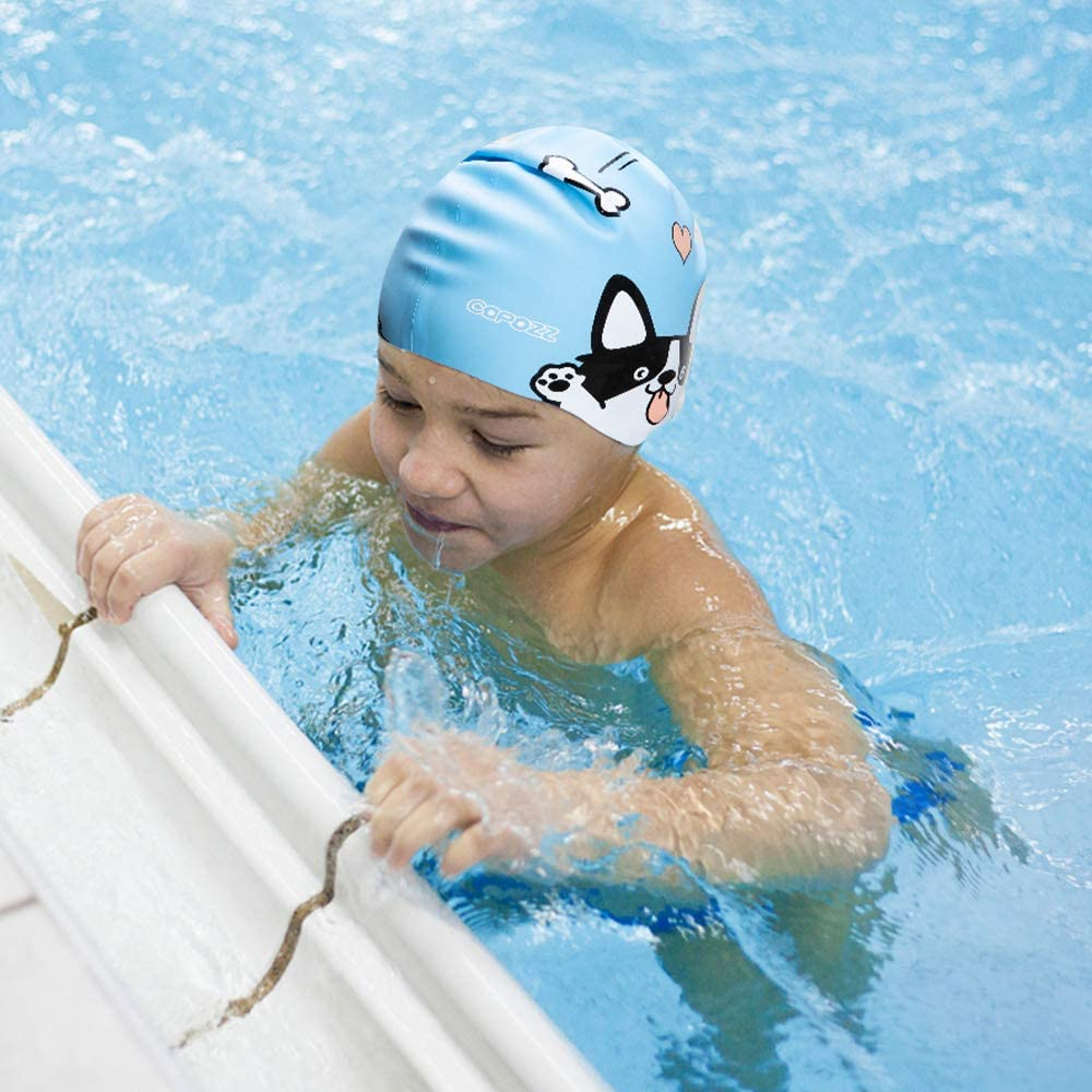 Silicone Waterproof Swimming Caps Stretchable Bathing Cap Comfortable Swimming Hat for Toddlers Children Teens Aged 4-12 Kids Swim Cap