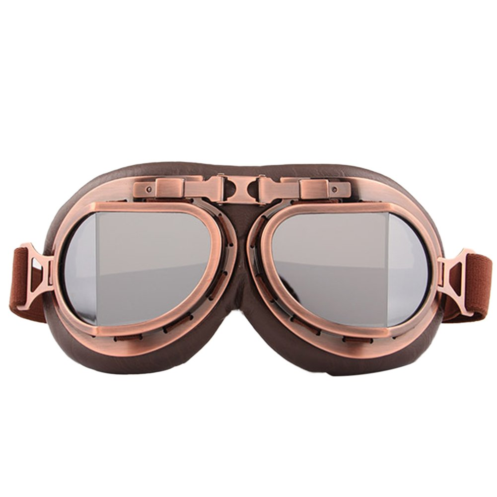 Finance Plan Vintage Men Women Outdoor Sports Wind-Proof Glasses Motorcycle Goggles Eyewear - Silver Lens
