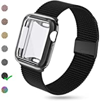 KEOLUS Compatible for Apple Watch Band 38mm 40mm 42mm 44mm with Screen Protector,Soft TPU Protective Case with Stainless Steel Mesh Loop Replacement for iWatch Band Series 5 4 3 2 1