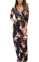 Mintsnow Women's Wrap V Neck Floral Print Casual Bohemian Maxi Dress