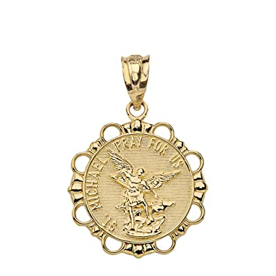 Amazon Com Solid 14k Yellow Gold Archangel St Michael Pray For Us