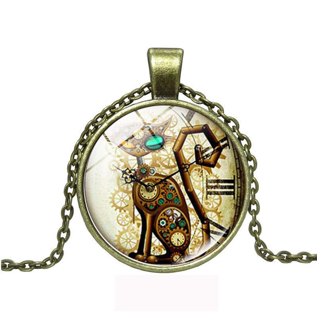 FEDULK Womens Jewelry Classic Retro Punk Cat Glass Cabochon Chain Pendant Necklace Creative Gift
