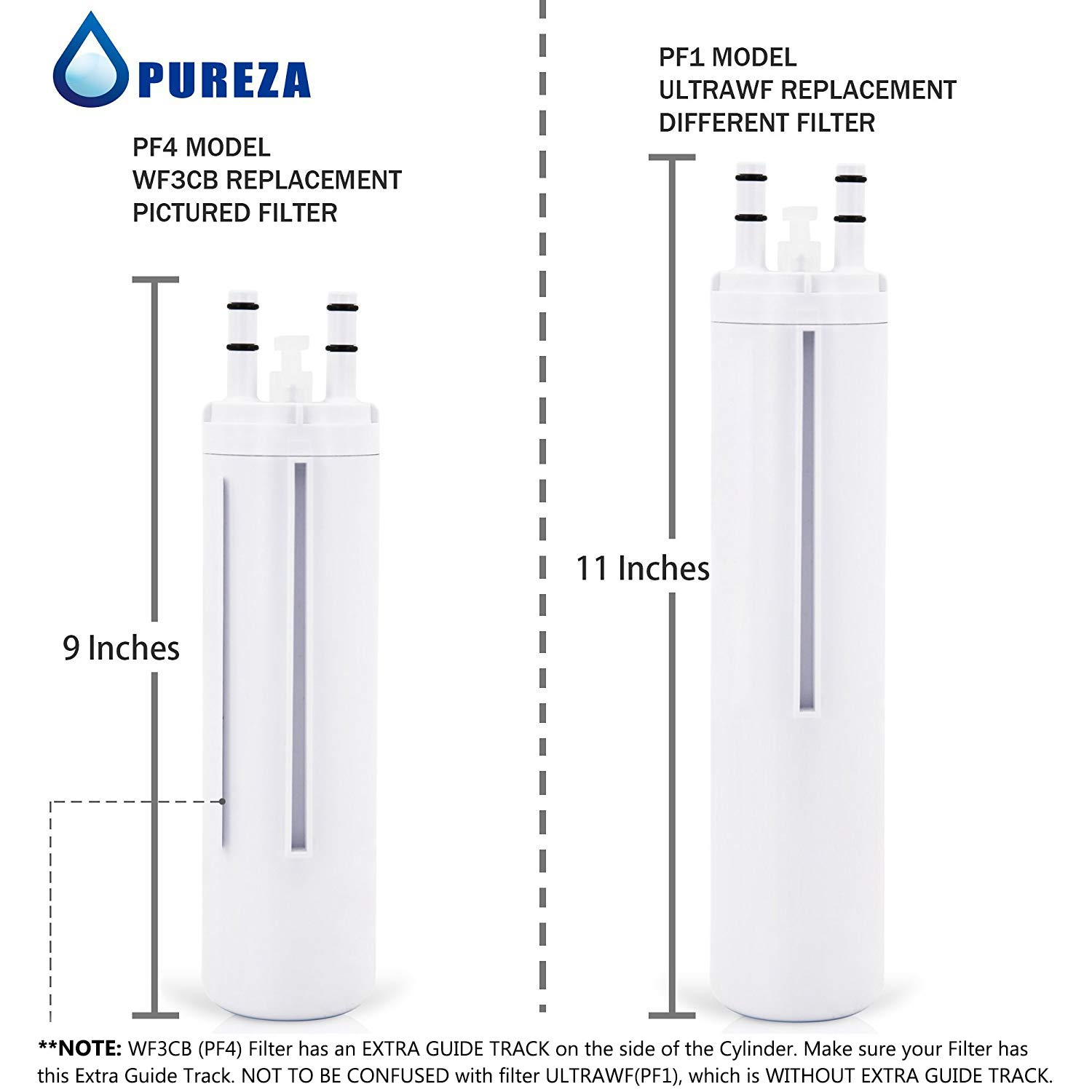 Pureza WF3CB Water Filter - Compatible with WF3CB, Pure Source 3 Refrigerator Water Filter, Pack of 3 by Pureza filters (Image #2)