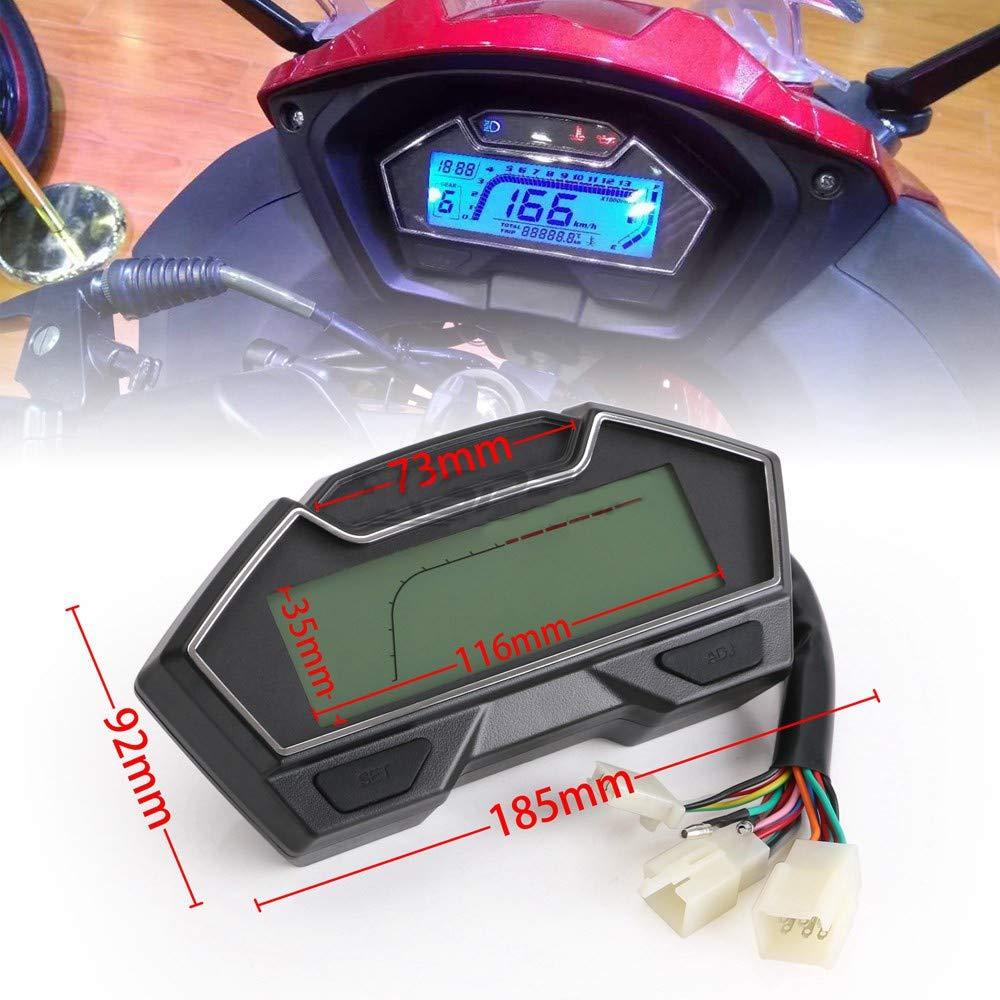 CHUDAN Moto 2//4 Cylindres Universelle Jauge De Carburant Tachym/ètre Indicateur De Vitesse Dinstrument Num/érique LCD Compteur De Vitesse DIY 199 Km//H 3000 TR//Min