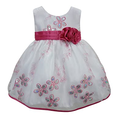 f4e7c8b1c8ce Amazon.com  Little Girls White Fuchsia Glitter Sequin Floral Detail ...