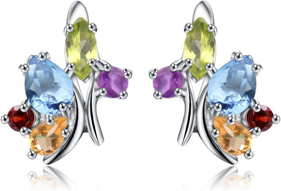 D&XQX 925 Pendiente Multicolor del Perno Prisionero de la Flor de Plata esterlina de joyería de la Boda Mujeres Amatista Natural Granate Peridoto Pendiente topacio Citrino