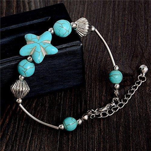 Meenanoom Hot sale Bohemia Star Shaped Turquoise Stone Vintage Adjustable Chain Bracelet