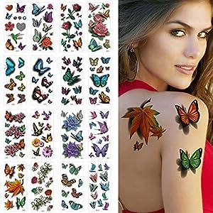 yeesport 16 Sheets Temporary Tattoo Fake Butterfly Tattoo Rose Tattoo Sticker Waterproof Body Art Tattoo