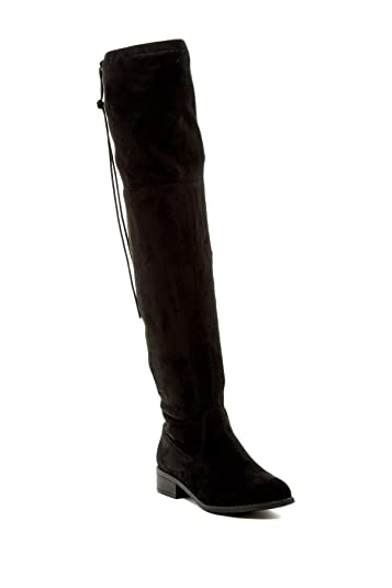 37a770c7497c Nature Breeze Olympia-14 Over The Knee High Womens Drawstring Riding Boot  Black Faux Suede